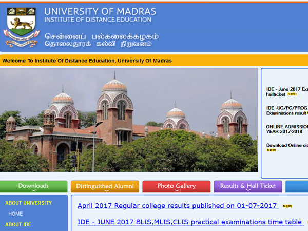 Madras University results April 2017, UNOM results OUT on unom