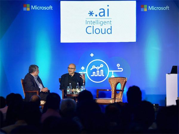 Microsoft CEO Satya Nadella in discussion with EkStep Co Founder and Chairman Nandan Nilekani during an event on startup stalwarts of India about digital information,intelligent cloud,AI, in Bengaluru on Monday. PTI Photo