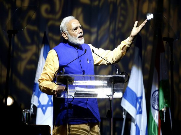 PM Modi addressing Indian diaspora at the Tel Aviv Convention Center on Wednesday