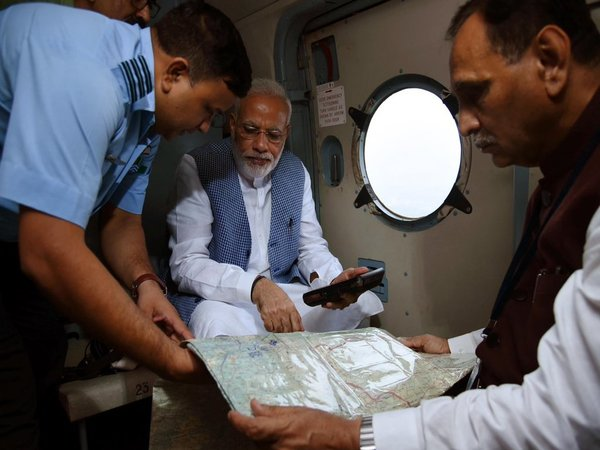 Modi undertakes aerial survey of flood-affected areas in Gujarat, announces relief package