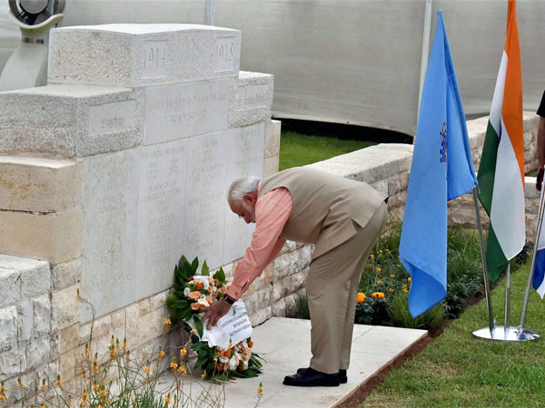 Prime Minister Narendra Modi lays a wreath at the Indian cemetery in Haifa, Israel on Thursday. Indian soldiers laid down their lives during the liberation of Haifa in 1918.