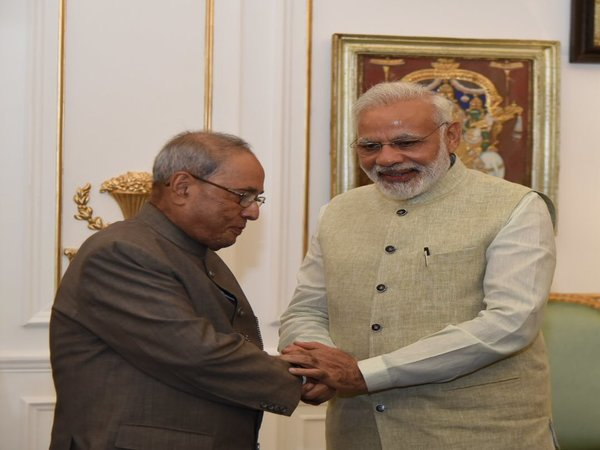 Pranab Mukherjee with PM Modi