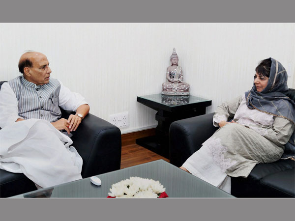 Home Minister Rajnath Singh and Jammu and Kashmir Chief Minister Mehbooba Mufti