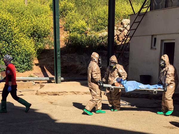 The Syrian air force on April 4 had dropped a bomb on the opposition-held town of Khan Sheikhun, releasing the deadly nerve agent that killed more than 80 people. PTI file photo