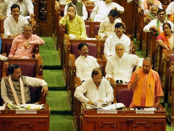 File photo of Chief Minister Yogi Aditiyanath speking in the UP Assembly session in Lucknow