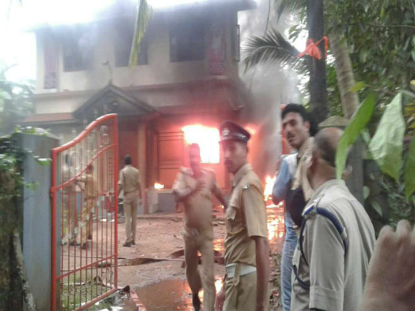 RSS office in Kannur vandalised, set ablaze