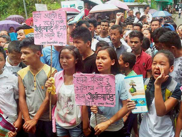 GJM supporters hold dharna demanding restoration of Internet