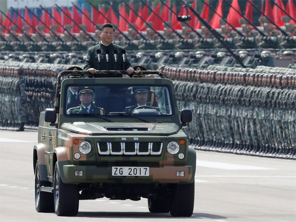 Chinese President Xi Jinping inspects the People's Liberation Army. Photo credit: PTI