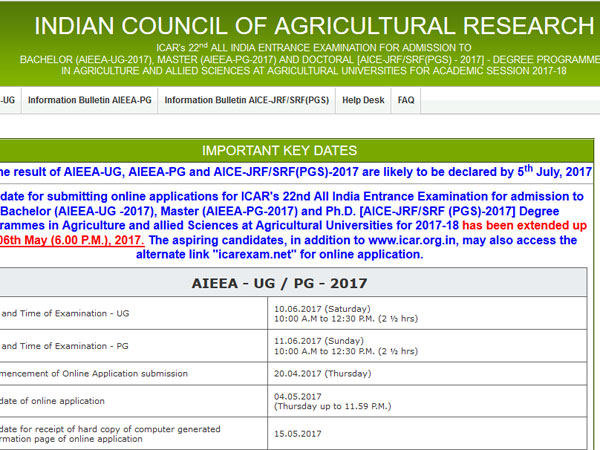 ICAR AIEEA UG,PG Results 2017 declared, check now