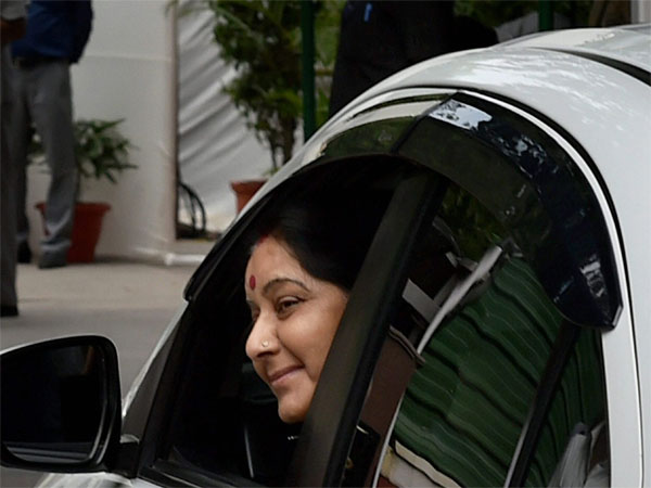 Union External Affairs Minister Sushma Swaraj arriving for all party meeting at Home Minister Rajnath Singh's residence in New Delhi. Photo credit: PTI