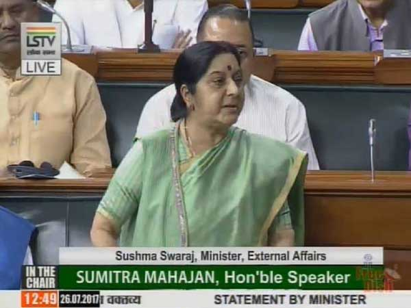 Sushma Swaraj interrupted by Opposition in Parliament
