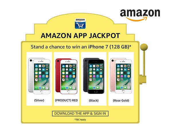 Amazon pp Jackpot - Win an iPhone 7 (128 GB) in Red, Black, Silver or Rose Gold*