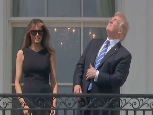 Solar Eclipse 2017: Trump looks at Sun without glasses becomes internet meme