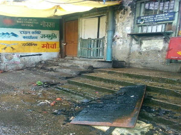 Fire damaged the GJM office building badly. Picture credit: @ANI Read more at: /india/gorkhaland-agitation-gjm-office-set-on-fire-miscreants-darj-2518807.html