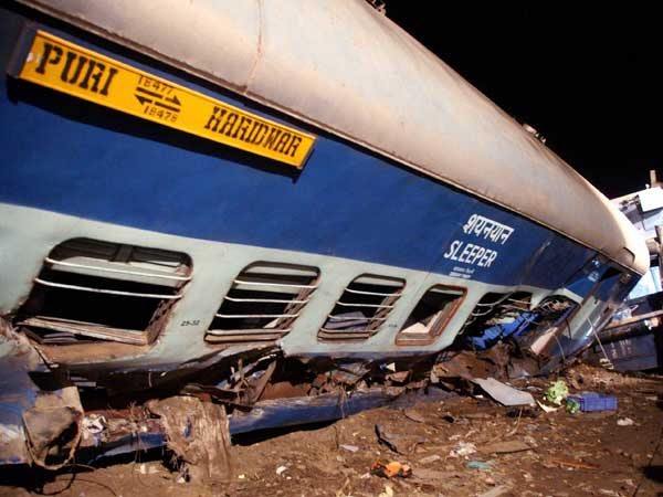 Coaches of the Puri-Haridwar Utkal Express train after it derailed in Khatauli near Muzaffarnagar on Saturday