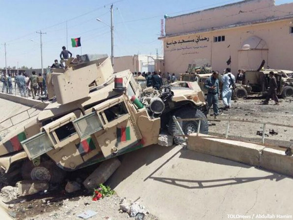 Suicide bomber target military convoy in Afghanistan's Helmand province. Courtesy: @Tolonews