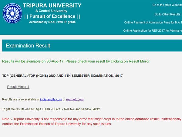 Tripura University TDP General, Hons 2, 4 Semester Exam 2017