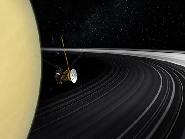 Graphical representation of Cassini approaching Saturn