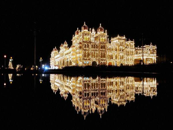 Mysuru Palace illuminated for Dusshera