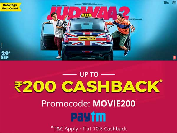 BOOK MOVIE TICKETS: Judwaa 2 in Cinemas Now, Get Upto Rs. 200 Cashback*