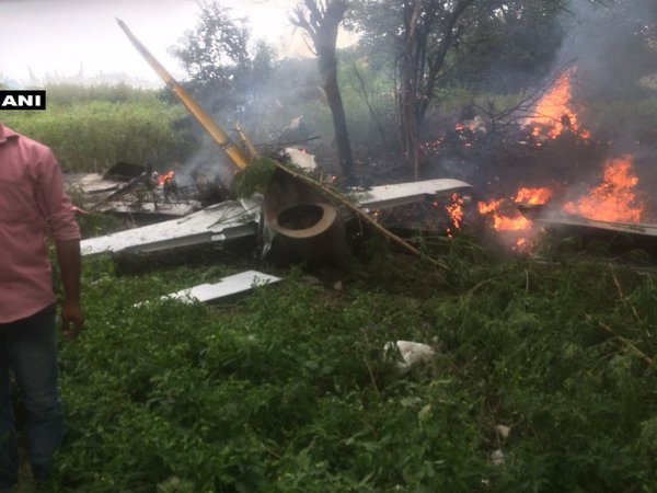 The crashed IAF trainer aircraft