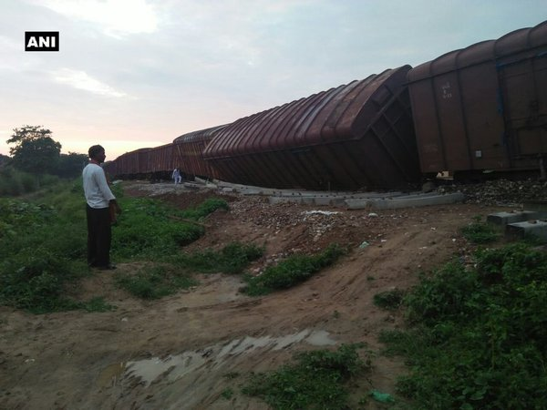 Derailed goods train