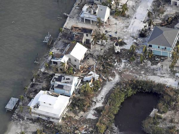 Damaged houses in the aftermath of Hurricane Irma
