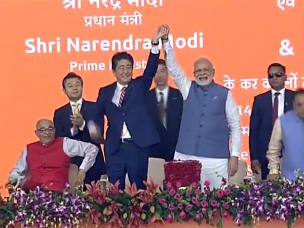 Modi and Abe at bullet train launch event