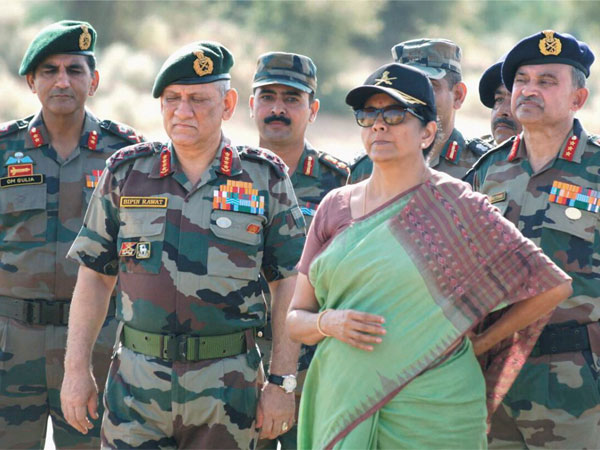 Union Minister for Defence, Nirmala Sitharaman and the Chief of Army Staff, General Bipin Rawat. PTI file photo