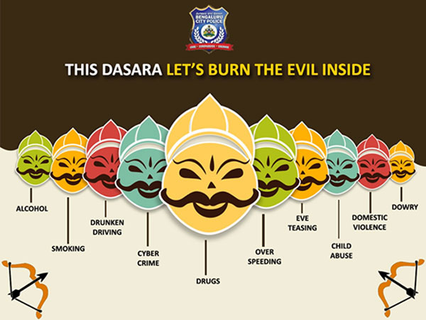 The city police on its Facebook page has put up a wittiest post urging people to burn the evil inside