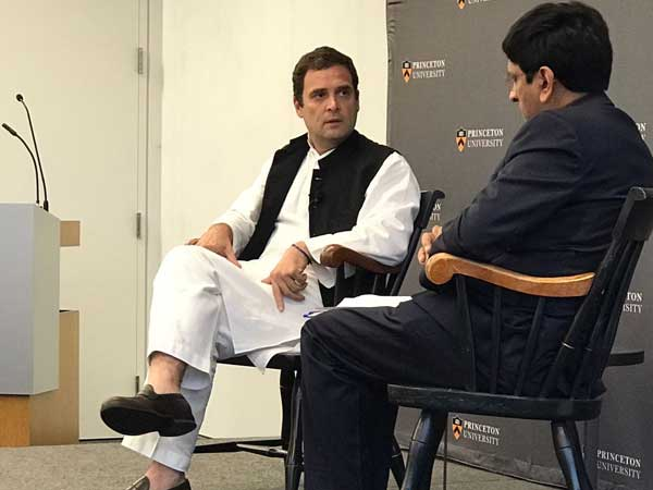 Rahul Gandhi interacts with students at Princeton