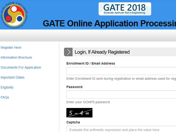 GATE 2018 Exam Online Application form Submission Started @gate