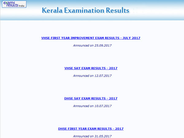 DHSE Plus One Improvement Results July 2017 - Kerala DHSE +1 Improvement Result