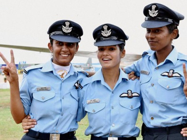 Women fighter pilots during passing put parade