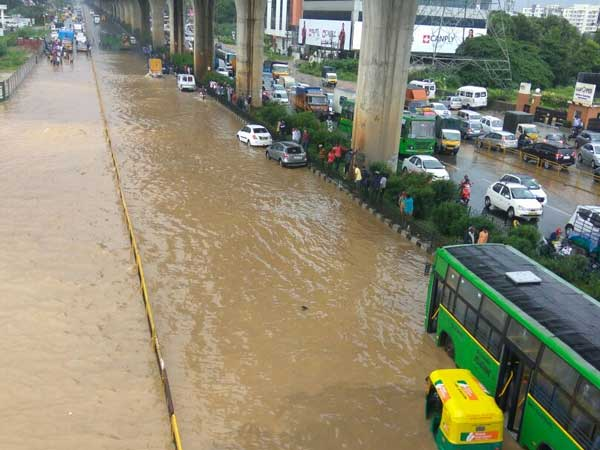 Roads leading to electronics city flooded