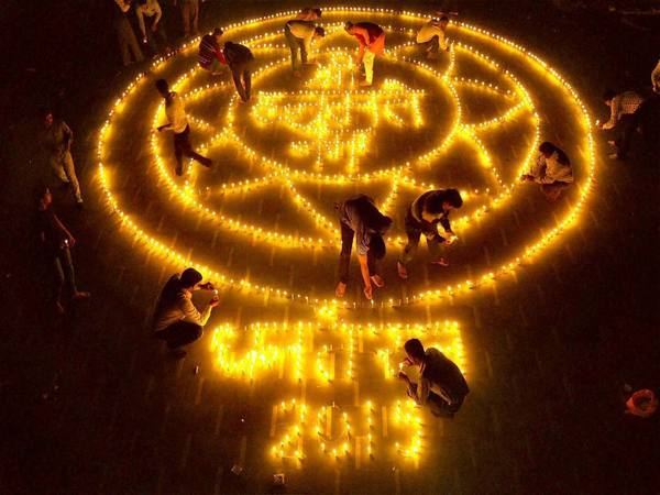 Earthen Lamps lit in an artistic style on the occasion of Dhanteras in Moradabad
