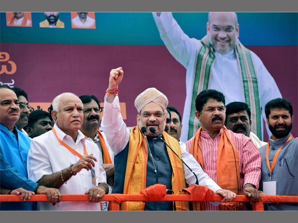 BJP president Amit Shah, former CM BS Yeddyurappa and union Minister Ananth Kumar. PTI file photo
