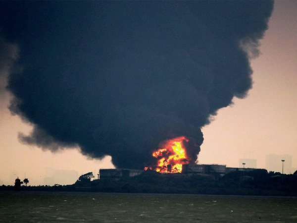 Fire breaks out at a oil depot on Butcher Island off the coast of Mumbai on Saturday.PTI Photo