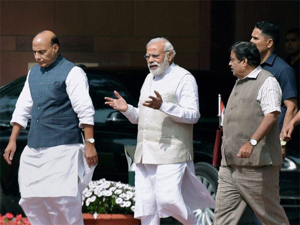 Prime Minister Narendra Modi along with Home Minister Rajnath Singh and Transport Minister Nitin Gadkari. PTI file photo