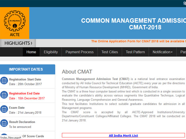 CMAT 2018 registration on October 20, check exam and scoring pattern