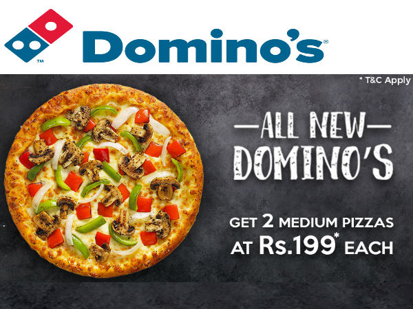 DIWALI DOMINOS OFFER!! Pizzas Worth Rs.295 at Rs.199 Only*