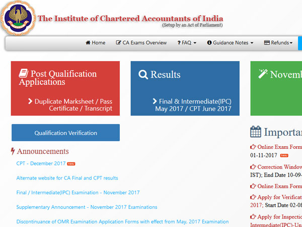 ICAI CPT December 2017: Online registrations start today at icaiexam.icai.org