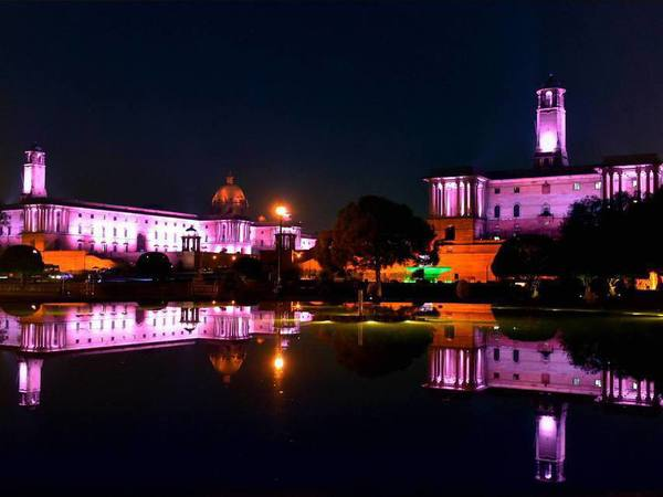 A view of North Block and South Block with the new Dynamic Facade Lighting, in New Delhi on Tuesday. PTI Photo