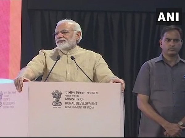 PM Modi speaking during birth centenary celebrations of Nanaji Deshmukh. Courtesy: ANI news