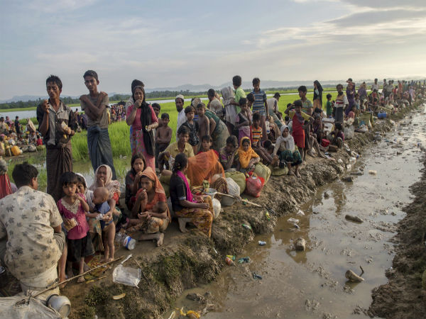 Rohingyas in big groups are leaving Myanmar to Bangladesh