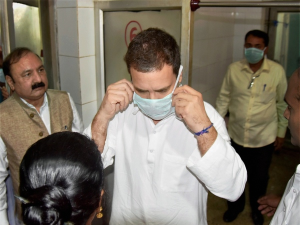 Rahul Gandhi at Raebareli hospital