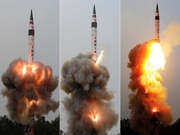 File photo of an Agni series missile being test fired