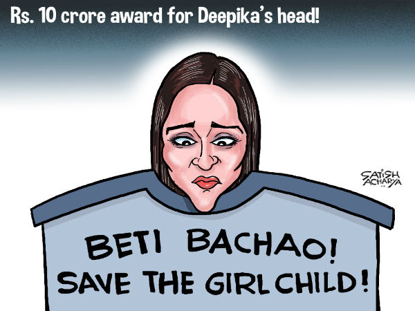 A BJP leader has announced a bounty of Rs 10 crore for beheading actress Deepika Padukone.