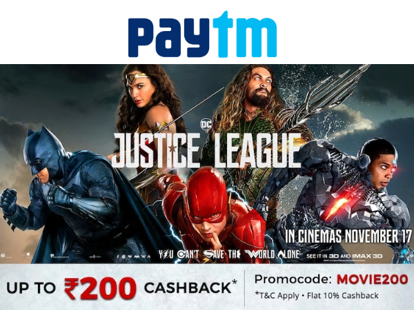 Bookmyshow & Paytm: Get Upto Rs. 200 Cashback on Movie Tickets*