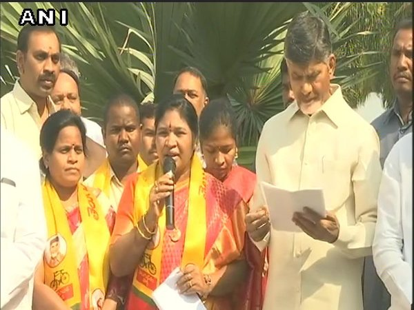 Giddi Eswari joining TDP (Image courtesy - ANI/Twitter)